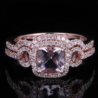 10K Rose Gold Cushion Morganite Diamonds Engagement Wedding Ring & Match Band