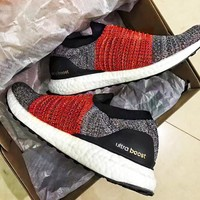 Adidas Ultra BoostT Laceless Comfortable Socks Running Shoes  Breathable Sneakers Knitting B-CSXY Grey/red surface