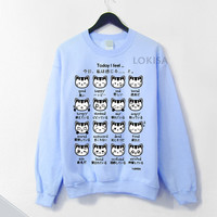 Japanese Kitty Emoticon Crewneck Sweatshirt - Sky Blue