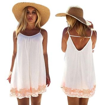 Women Dress White Harness dress Backless Short Summer BOHO Evening Party Beach Mini Dress Sundress#LSN