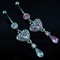New Charming Dangle Crystal Navel Belly Ring Bling Barbell Button Ring Piercing Body Jewelry = 4804934148