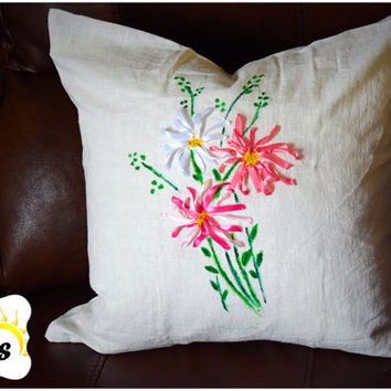 Simple anf modern pillow cover-oilpaint-embroidery-100%cotton