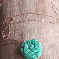 Delicate Carved Turquoise Flower Pendant Necklace - Rose Gold - Yellow Gold - Gold Fill Necklace - Turquoise Necklace - Flower Necklace