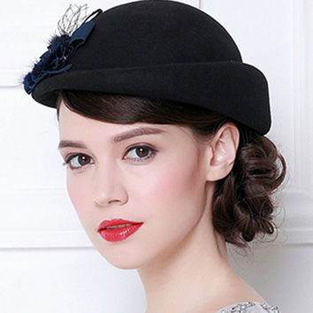 NEW England flower headband curl Beret Pillbox Hat Stewardess Bowler Hat Wool Wedding Party Top Hat for Women free shipping