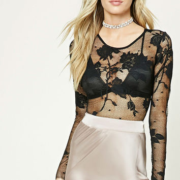 Semi-Sheer Lace Bodysuit