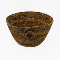 Coiled Fabric Bowl, Basket, Earth Colors