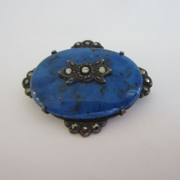 Sterling Brooch Marcasite Blue Lapis Cabochon