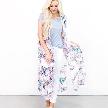 Betty Floral Medallion Sleeveless Kimono
