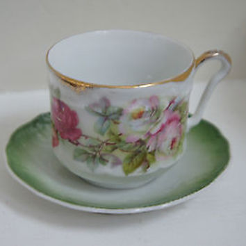 German Porcelain Present Cup & Saucer Pink Floral Roses with Gold Accent
