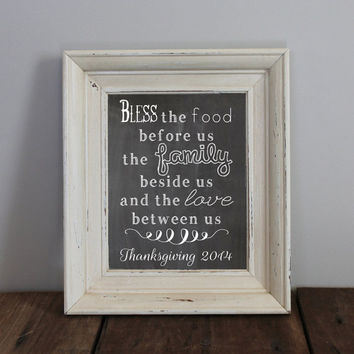 Family Chalkboard  Print  | Thanksgiving 2014 Family Chalkboard Printable | Bless this food, family, love Printable | 8x10 Instant Download
