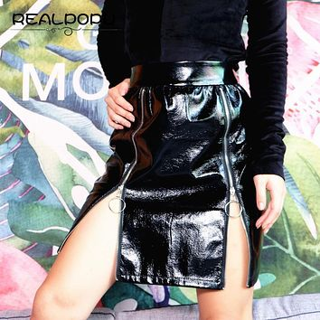Zipper PU Leather Skirts Womens High Waist Black Sexy Elegant Knee-length Straight Skirt Fashion Casual Slim Mini Skirt faldas