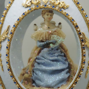 Belle of the Christmas Ball in Decorated Ostrich Egg Turn of Century Figurine Egg Art Faberge Style Decorated Egg