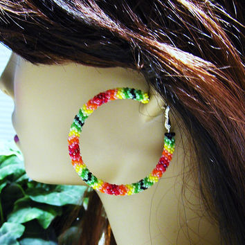 Beaded Hoop Earrings - Beaded Stud Earrings - Womens Hoop Earrings - Boho Hoop Earrings - Large Hoop Earrings - Beaded Hoop Stud Earrings