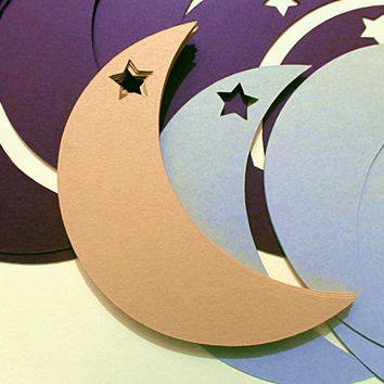 Moon Star Tags and Cut Outs - 20 Moons - Paper Crafts for Scrapbooking, Arts and Crafts - Custom Shapes, Colors, Words - Create your Own