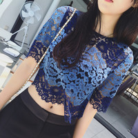 Blue Lace Crochet Half Sleeves Crop Shirt Tee Top Cover Up