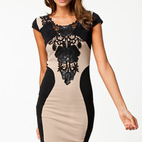 Black and Nude Lace Detail Bodycon Midi Dress