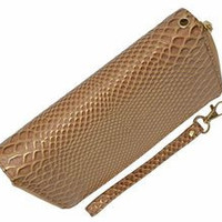 Double Zipper Snake Print Clutch Wallet