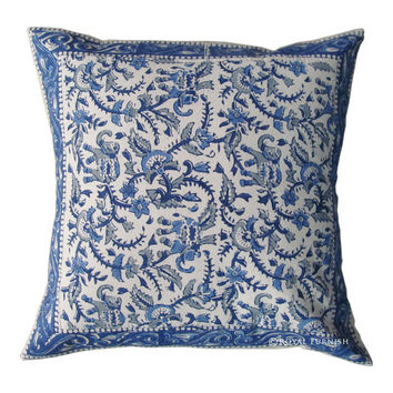 """16x16"""" Throw Pillow Cover, Indian Hand Block Print Pillow, Cushion Cover, Toss Pillow, Decorative Pillow Cover, Cotton Pillow"""
