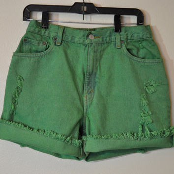 VINTAGE Denim Jean SHORTS - Hand Dyed Kelly Green Urban Style Denim Vintage Levi's Shorts - Size 12 (30)