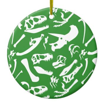 Dinosaur Bones (Green) Ceramic Ornament