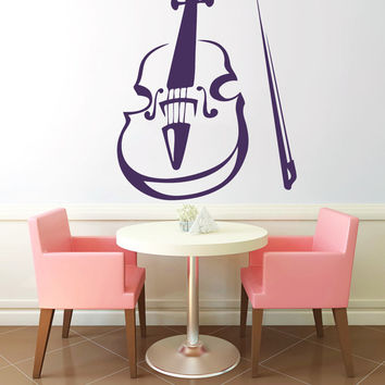 Violin Vinyl Decals Wall Sticker Art Design Living Room Cafe Modern Stylish Bedroom Nice Picture Home Decor Hall Interior ki611