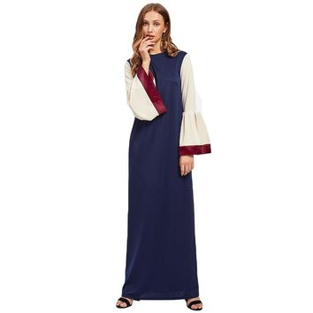 Kaftan Dress With Satin Trim