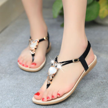 Women shoes sandals comfort sandals women Summer Classic Rhinestone fashion Summer high quality flat sandals