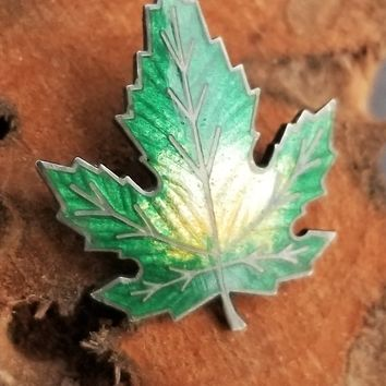 Green and yellow sterling silver guilloché enamel maple leaf vintage brooch