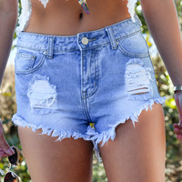 Cape Coral Dark Blue Distressed Frayed Hem Shorts