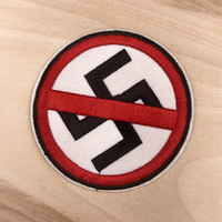 ANTI-NAZI PATCH | Anti-Racist - Iron On, Embroidered, Handmade Jacket Patches, Anti Racism - Great Gift!