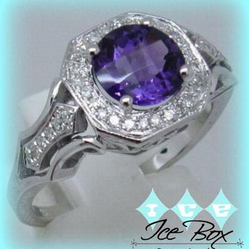 Amethyst Engagement Ring 1.9ct 7mm Round in a 14k White Gold Diamond Single Halo Cutwork Band Setting
