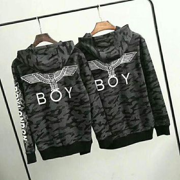 ESBUF3 Boy Fashion Monogram Print Long Sleeve Camouflage Hoodie Pullover Sweater G-G-JGYF