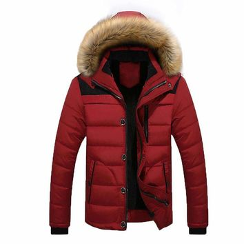 men outdoor warm  thick jacket plus fur hooded coat jacket
