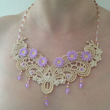 Lace necklace Lace flower necklace Flower necklace Lace jewelry Love gift Mother gift Summer necklace Purple lace necklace Gift for her