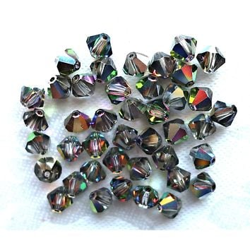 Lot of 24 6mm Crystal Vitral Czech Preciosa glass bicone beads, faceted silver, vitrisl bicones C7801
