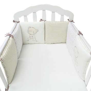 Baby Crib Bumper Pads Bedding Set Beige 6Pcs/Lot Bed Bumper Baby Infant Bed Protector Knotted Crib Bumpers Nursery Bedding Set