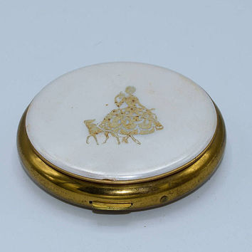 5th Ave Zell Lady & Dog Compact Vintage Pearl White Gold Painted Lady Face Powder Compact Mirror Hollywood Regency Gift for Her