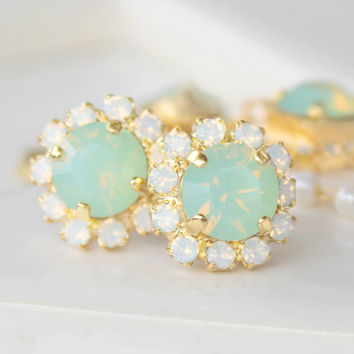 Chrysolite Opal Swarovski Crystals Framed with White Opal Halo Crystals on Gold Post Earrings