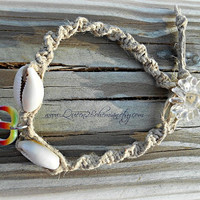 Cowrie Shell Peace Anklet, Macrame anklet, Hemp Anklet, Peace sign, Hippie, Boho, Hipster
