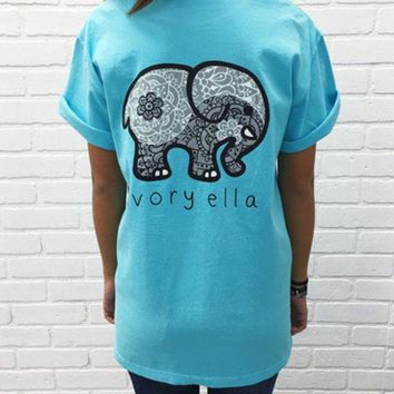 2016 Trending Fashion Summer Sky Blue Elephant Printed Women Short Sleeve Top Women Tank Vest T-Shirt Top