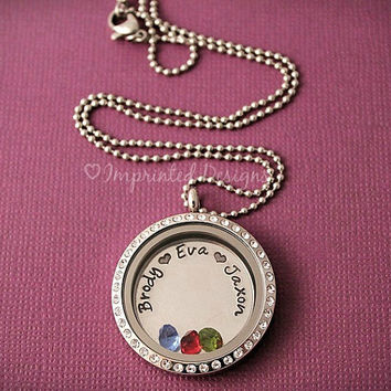 Floating Locket - Memory Locket - Mom Necklace - Grandma Jewelry - Birthstone Name Necklace