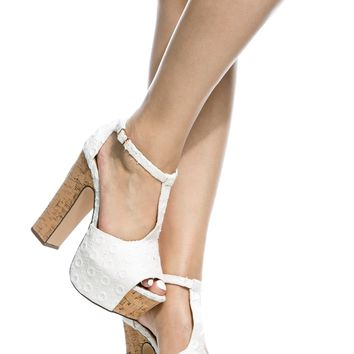 White Crochet Chunky Peep Toe T Strap Heels @ Cicihot Heel Shoes online store sales:Stiletto Heel Shoes,High Heel Pumps,Womens High Heel Shoes,Prom Shoes,Summer Shoes,Spring Shoes,Spool Heel,Womens Dress Shoes