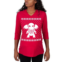 Big Cthulhu Ugly XMAS Sweater Red Maternity 3/4 sleeve T-shirt