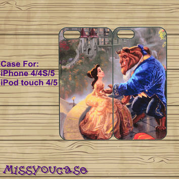 iphone 4 case,iphone 4s case,cute iphone 4 case,iphone 5 case,cute iphone 5 case,Beauty and the Beast,best friends case,in plasitc,silicone