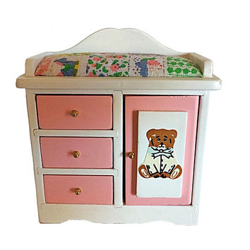 Vintage Doll Furniture, Wood Doll Dresser, Baby Changing Dresser, Pink Doll Furniture, Dollhouse Furniture, Classics Doll Furniture, Doll