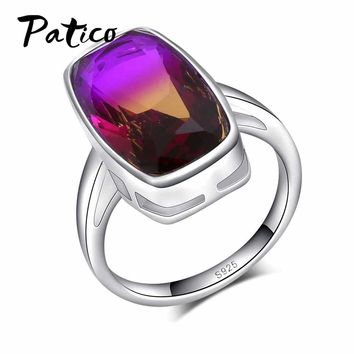 PATICO Classic Real Solid 925 Sterling Silver Ring Wedding Jewelry For Women Simple Square Heart Purple Zircon Engagement Rings