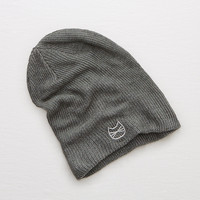 Aerie Ribbed Shine Beanie, Dark Heather