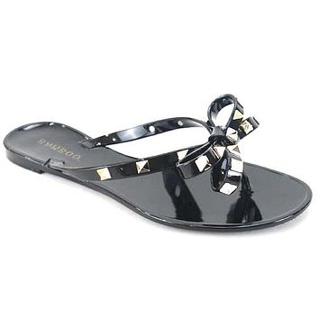 Bow Jelly Thong Sandals- Black