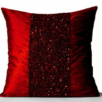Decorative Throw Pillow Cover in Red  Embroidered Pillowcase 16x16 Beaded Cushions  Gifts  Royal Red Pillows Couch Toss Pillows Christmas