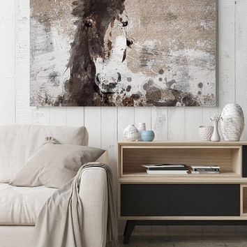 Dream Horse 4. Extra Large Rustic Horse, Equine Wall Decor, Brown Rustic Horse, Large Farmhouse Wall Canvas Art Print up to 72